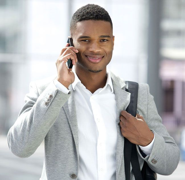Business worker on his mobile phone